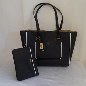 RALPH LAUREN PROPFESSIONAL BLACK LEATHER TOTE